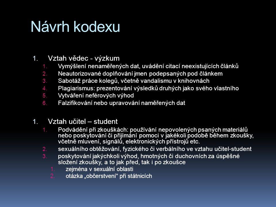 Návrh kodexu Vztah vědec - výzkum Vztah učitel – student