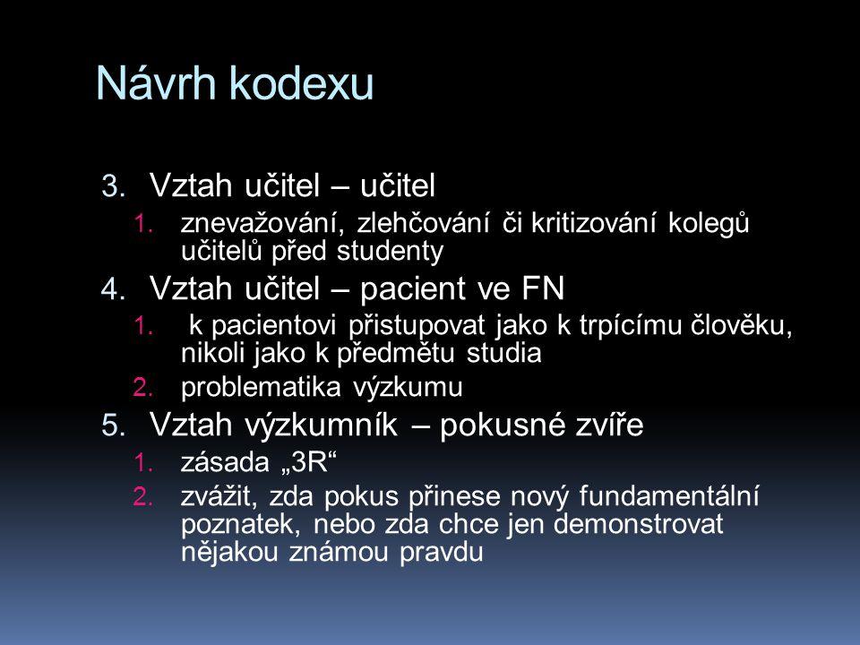 Návrh kodexu Vztah učitel – učitel Vztah učitel – pacient ve FN