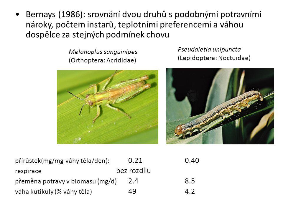 Bernays (1986): srovnání dvou druhů s podobnými potravními nároky, počtem instarů, teplotními preferencemi a váhou dospělce za stejných podmínek chovu