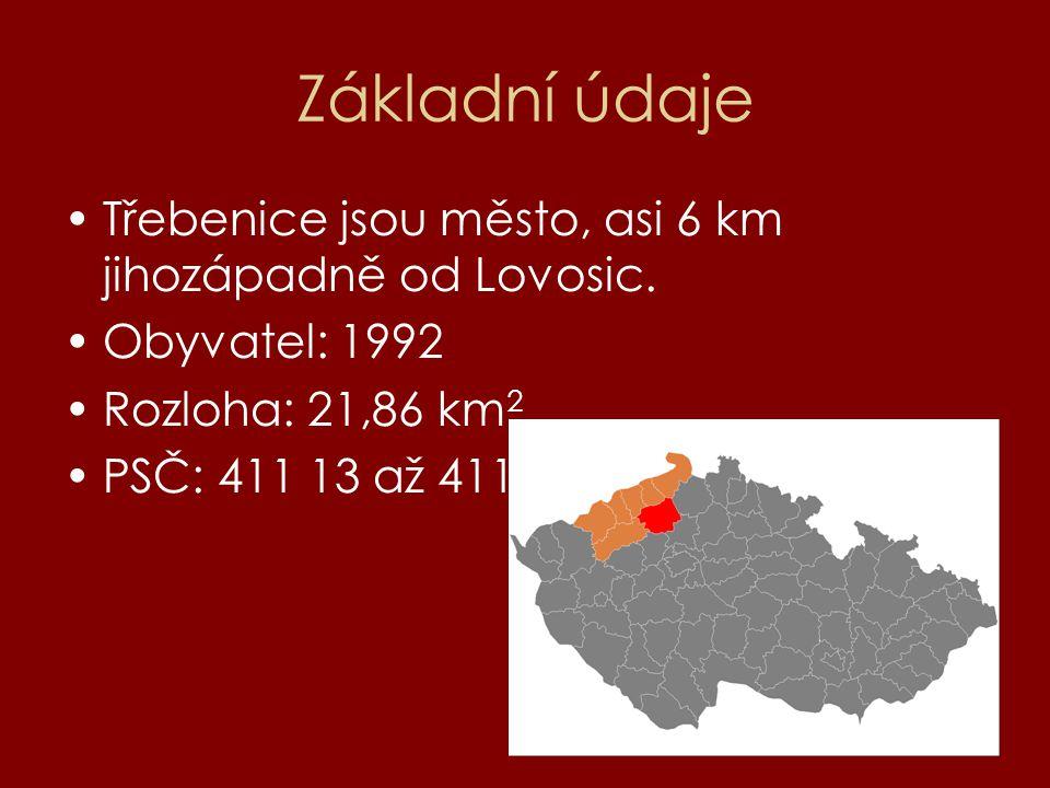Základní údaje Třebenice jsou město, asi 6 km jihozápadně od Lovosic.