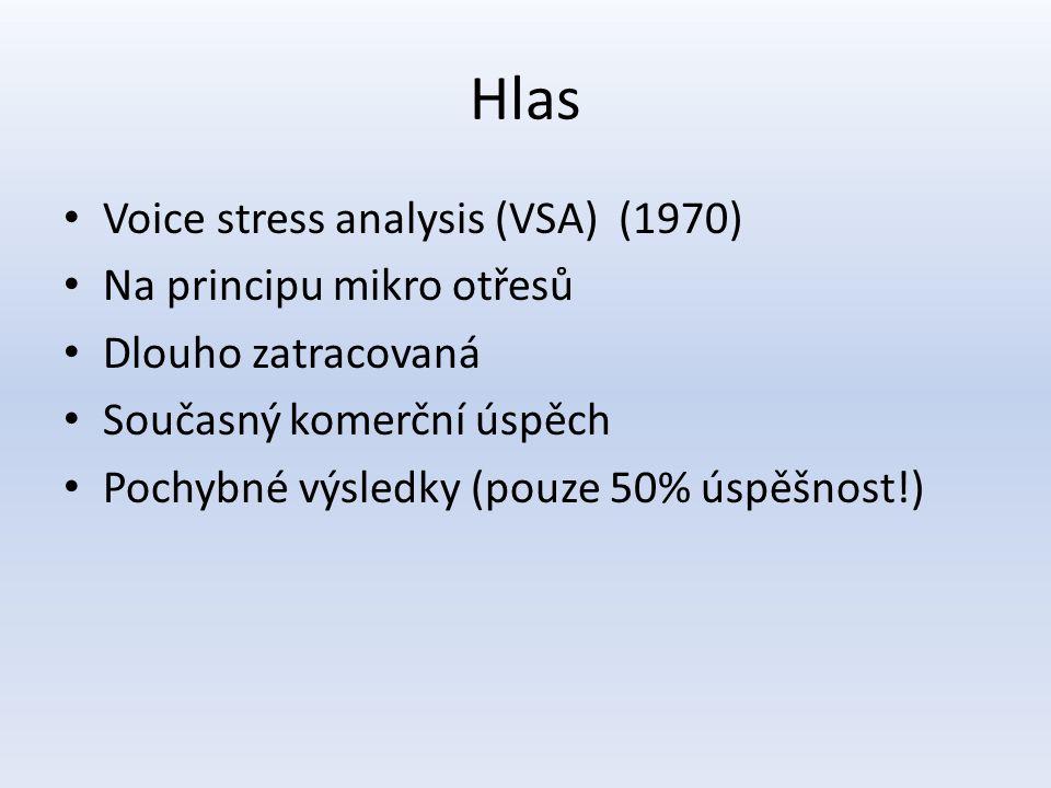 Hlas Voice stress analysis (VSA) (1970) Na principu mikro otřesů