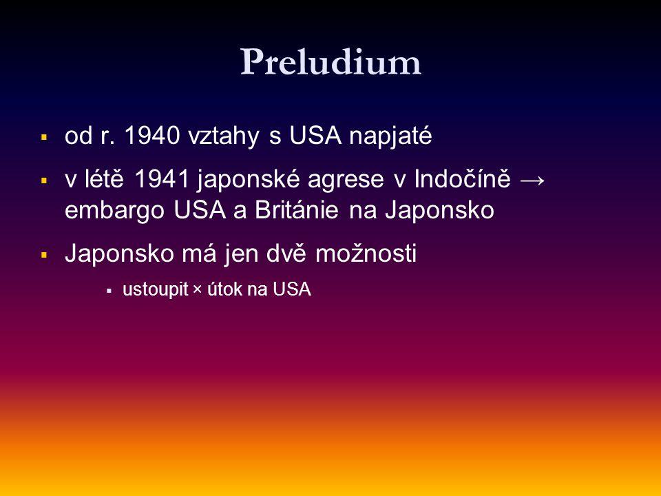Preludium od r. 1940 vztahy s USA napjaté
