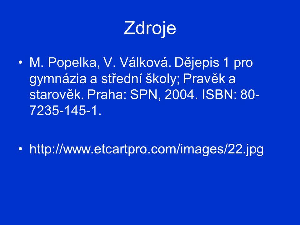 Zdroje M. Popelka, V. Válková. Dějepis 1 pro gymnázia a střední školy; Pravěk a starověk. Praha: SPN, 2004. ISBN: 80-7235-145-1.