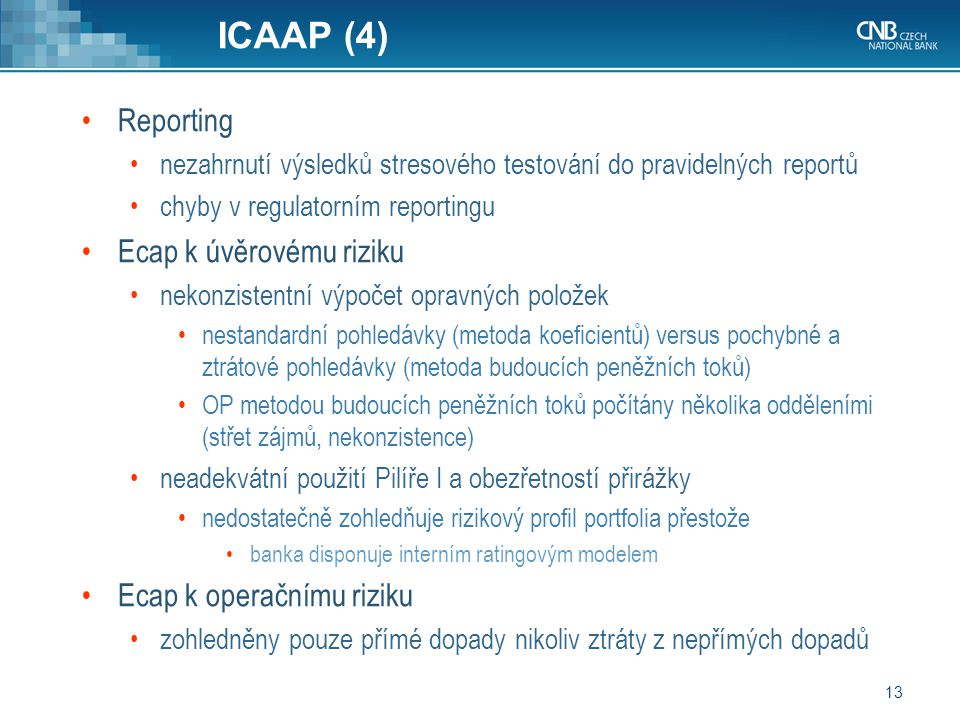 ICAAP (4) Reporting Ecap k úvěrovému riziku Ecap k operačnímu riziku
