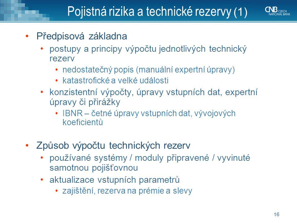 Pojistná rizika a technické rezervy (1)