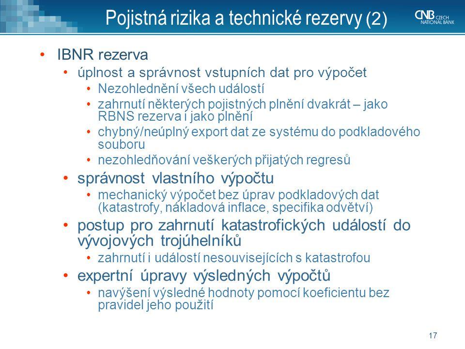 Pojistná rizika a technické rezervy (2)