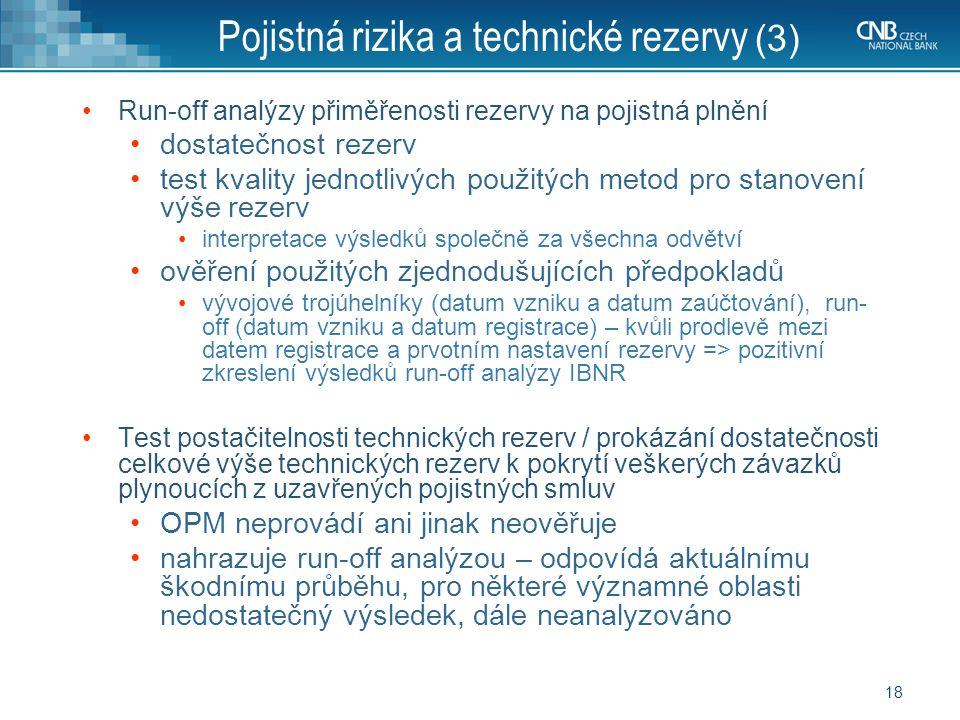 Pojistná rizika a technické rezervy (3)