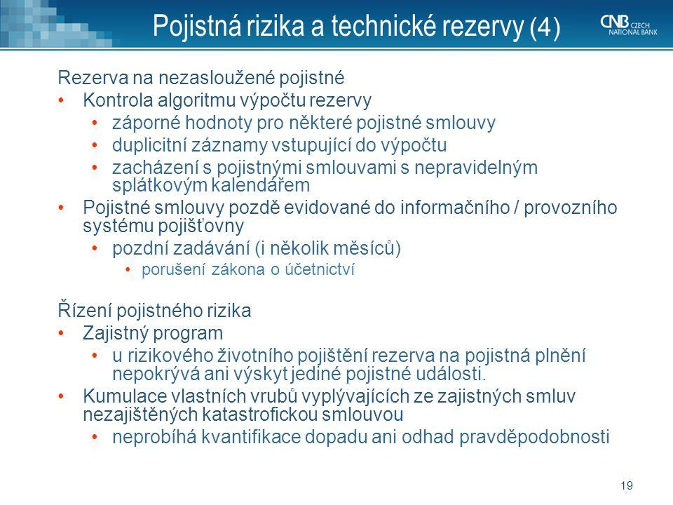 Pojistná rizika a technické rezervy (4)