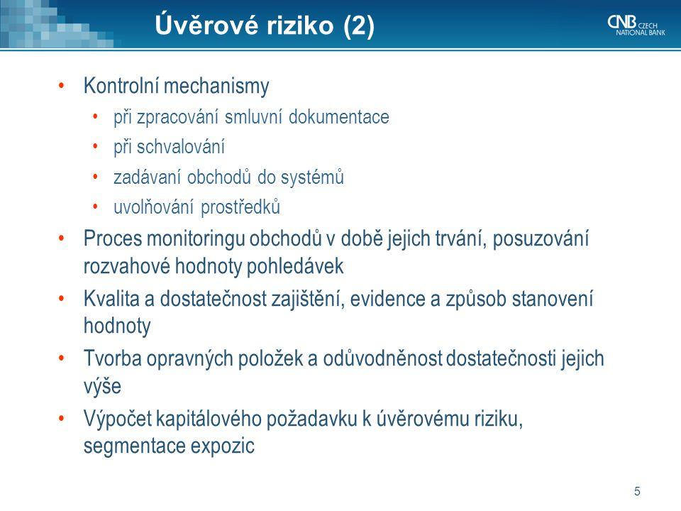 Úvěrové riziko (2) Kontrolní mechanismy