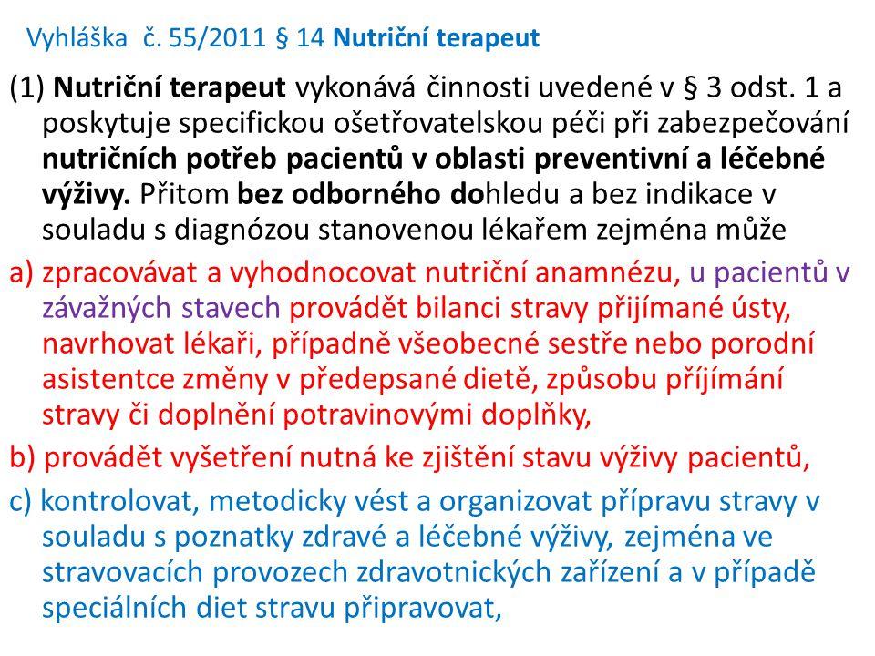Vyhláška č. 55/2011 § 14 Nutriční terapeut