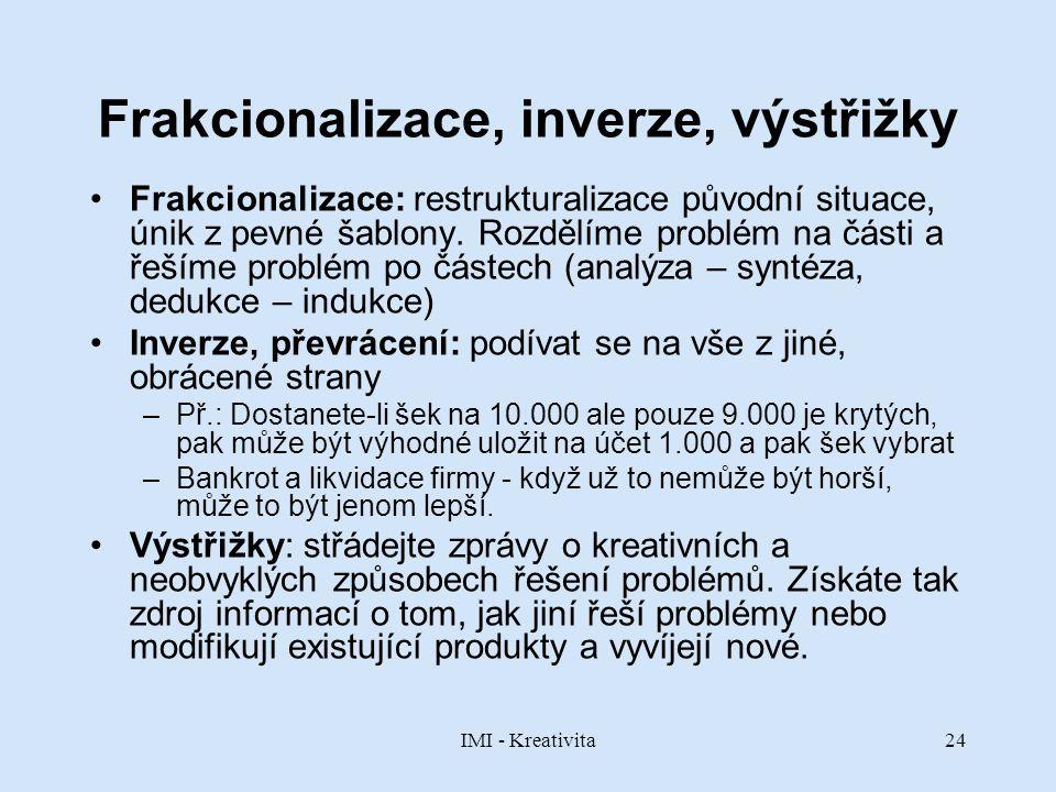 Frakcionalizace, inverze, výstřižky