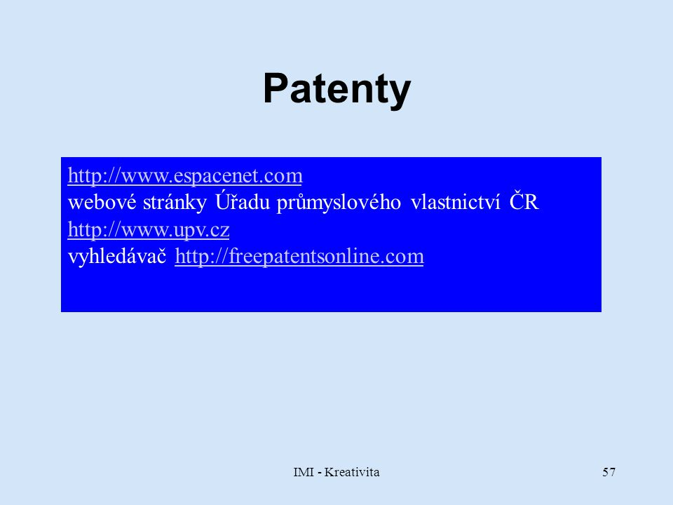 Patenty http://www.espacenet.com