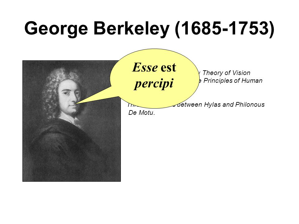 George Berkeley (1685-1753) Esse est percipi