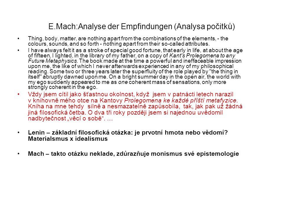 E.Mach:Analyse der Empfindungen (Analysa počitků)