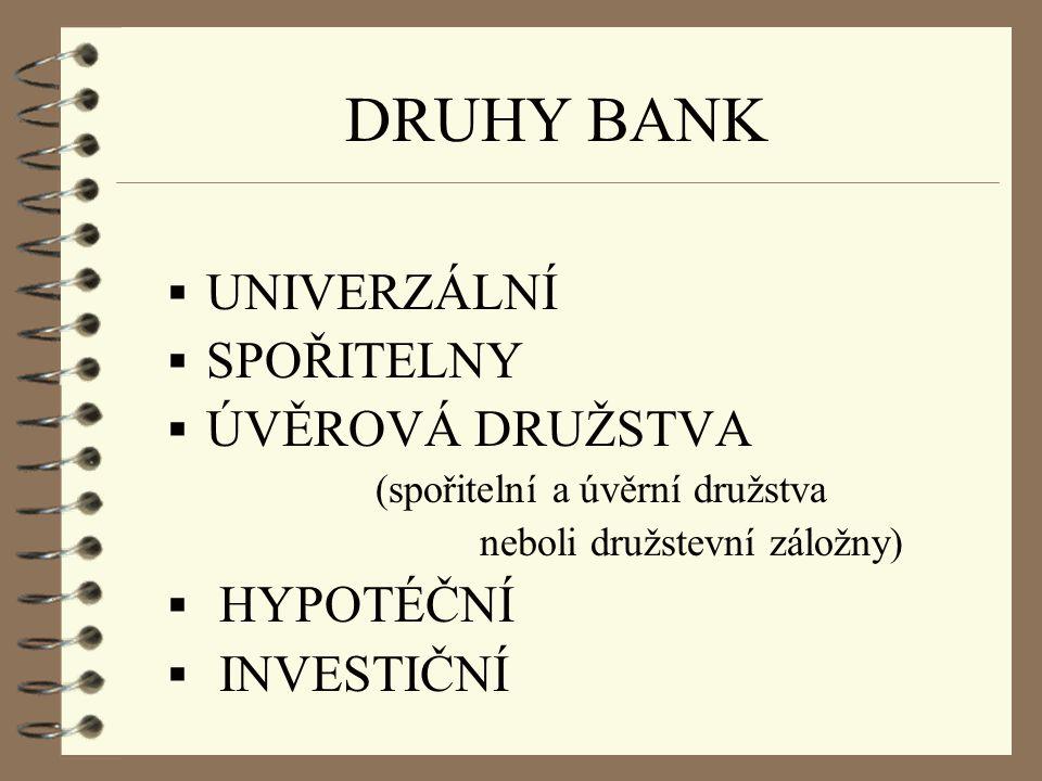 DRUHY BANK UNIVERZÁLNÍ SPOŘITELNY ÚVĚROVÁ DRUŽSTVA HYPOTÉČNÍ
