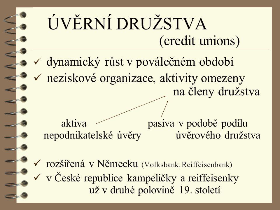 ÚVĚRNÍ DRUŽSTVA (credit unions)