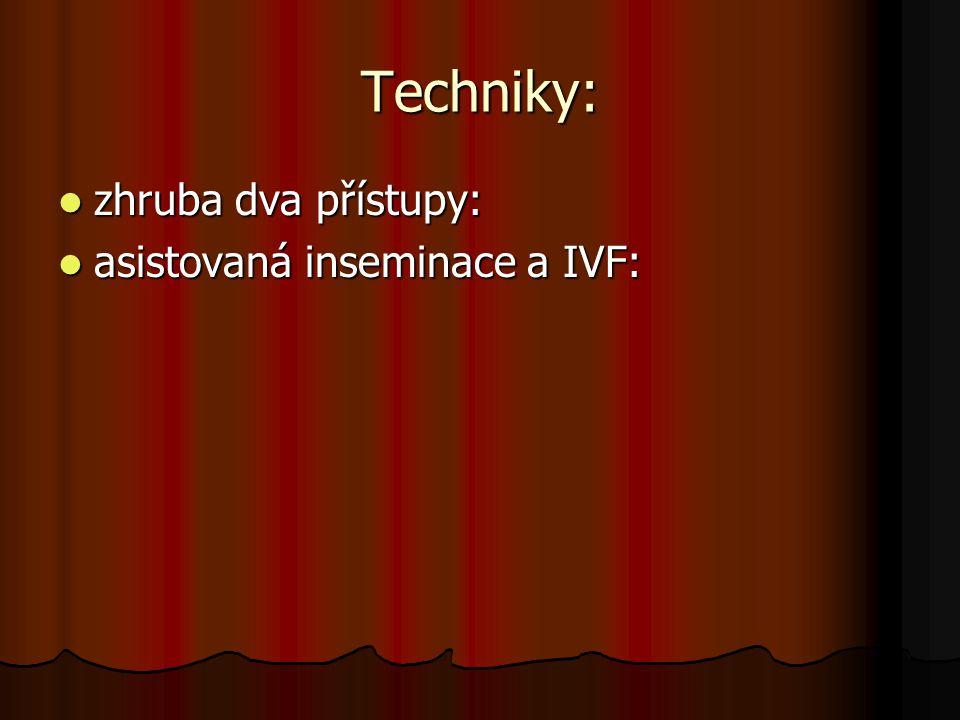 Techniky: zhruba dva přístupy: asistovaná inseminace a IVF: