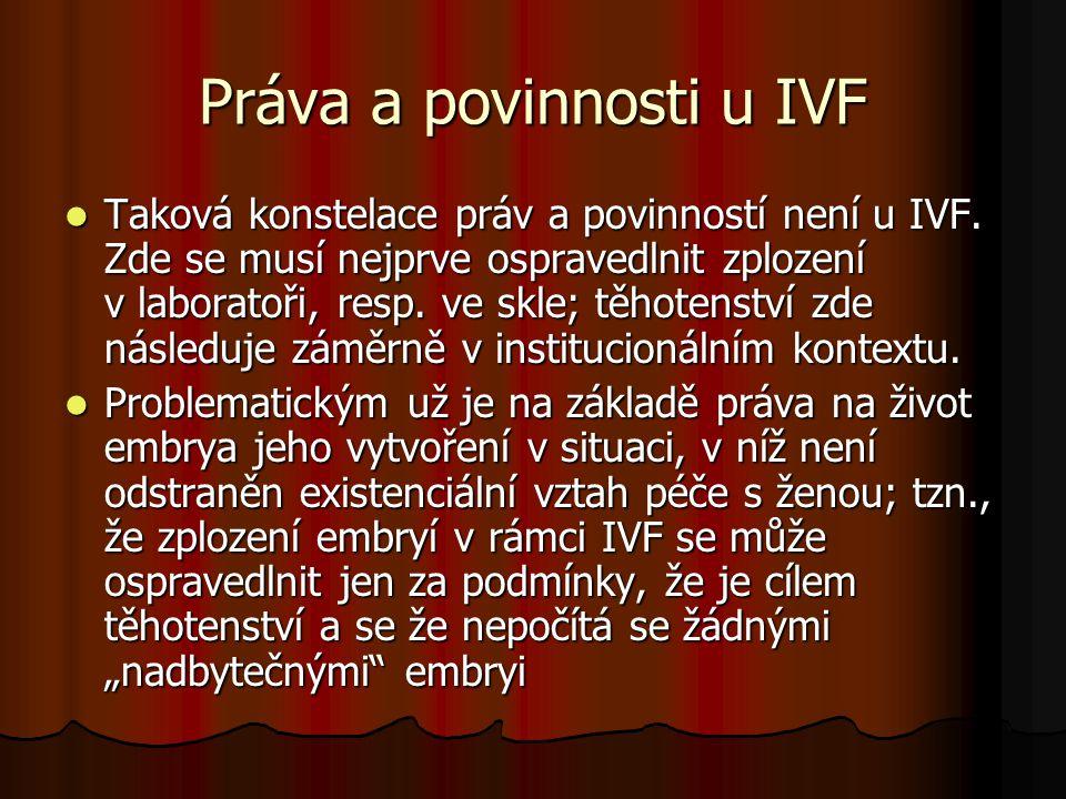 Práva a povinnosti u IVF