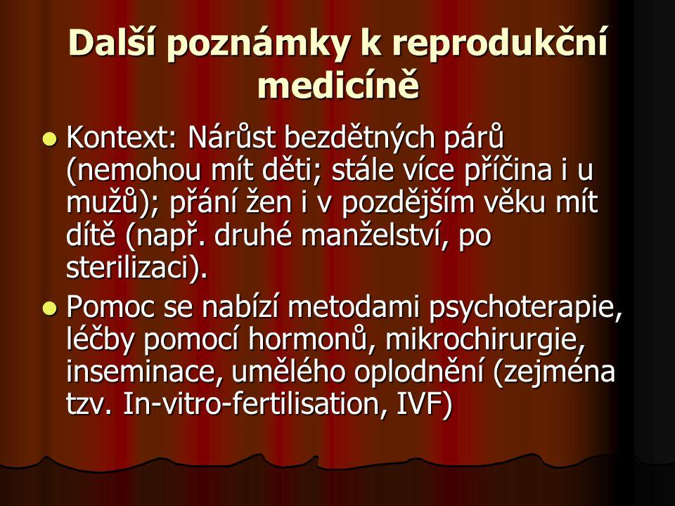 Další poznámky k reprodukční medicíně