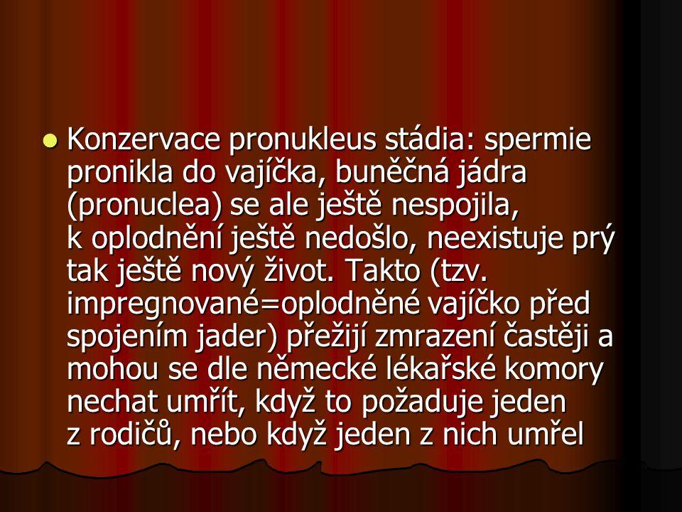 Konzervace pronukleus stádia: spermie pronikla do vajíčka, buněčná jádra (pronuclea) se ale ještě nespojila, k oplodnění ještě nedošlo, neexistuje prý tak ještě nový život.