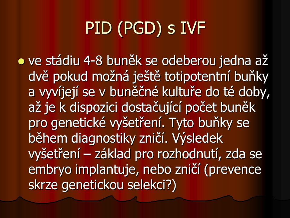 PID (PGD) s IVF
