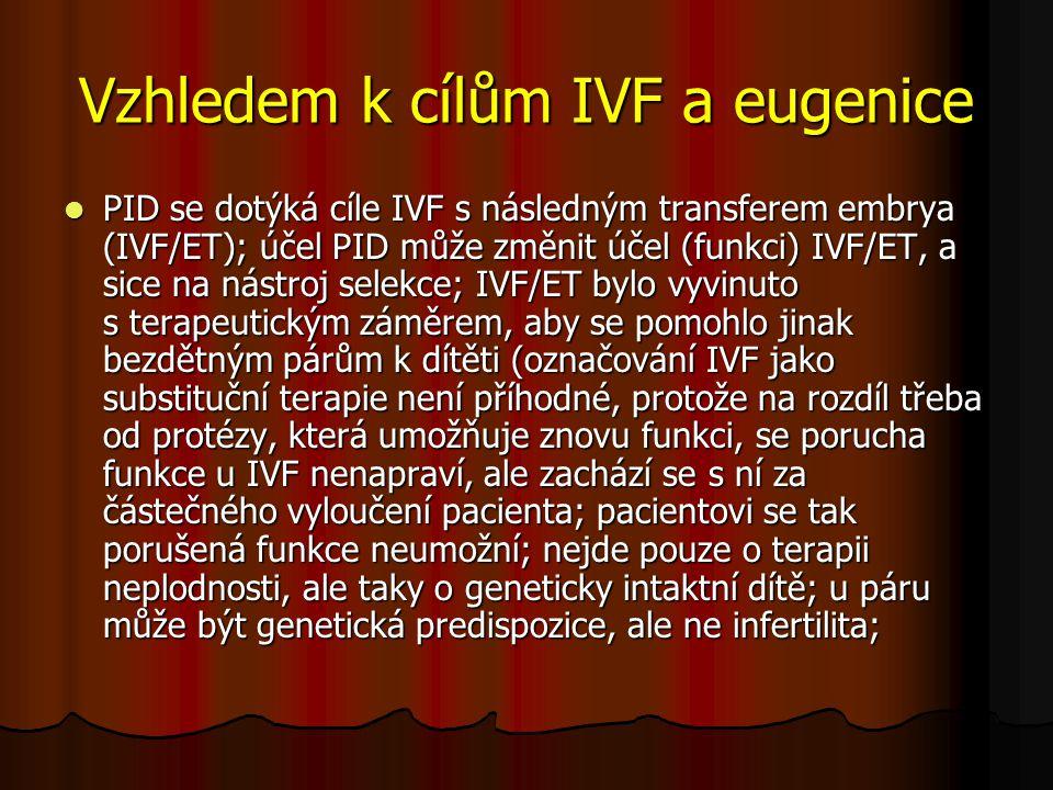 Vzhledem k cílům IVF a eugenice