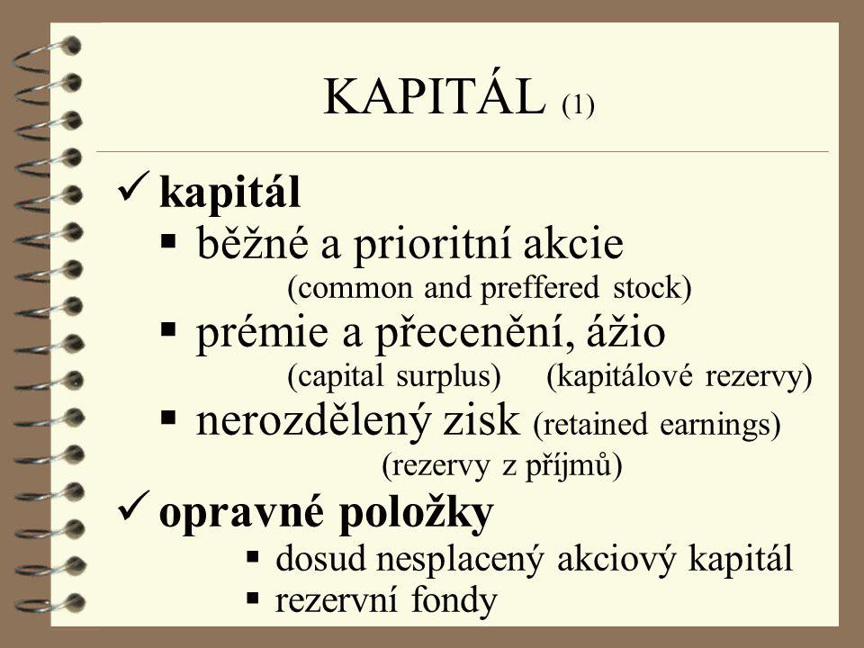 KAPITÁL (1) kapitál běžné a prioritní akcie prémie a přecenění, ážio