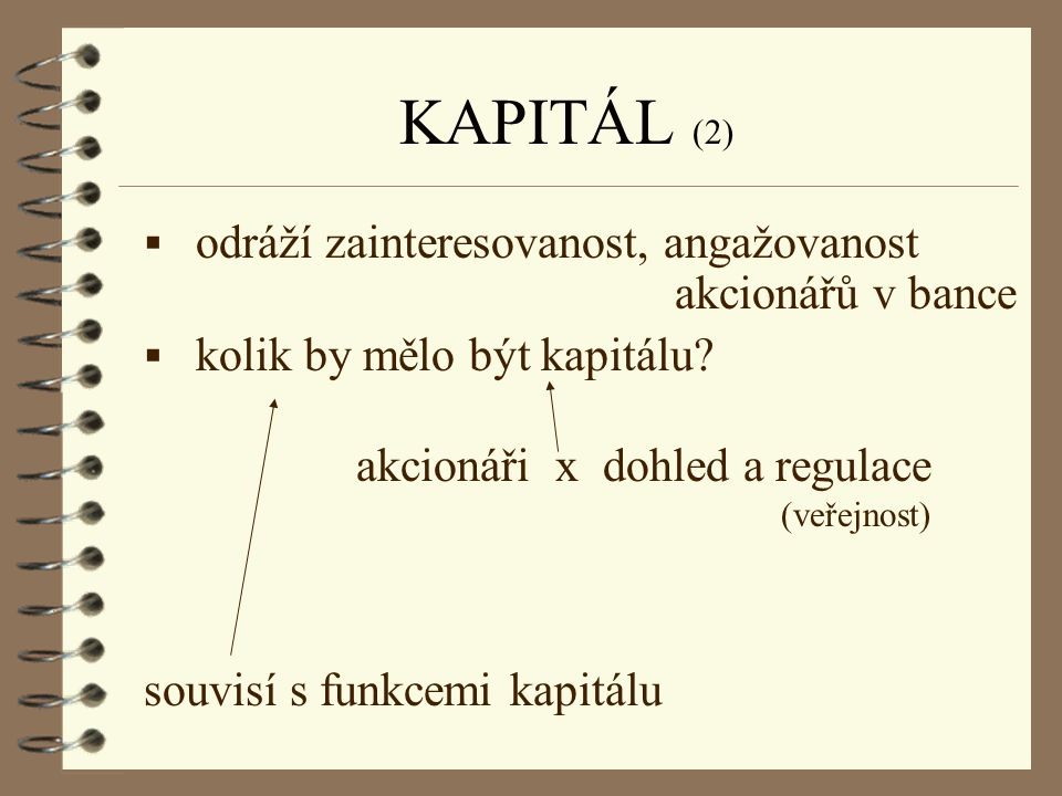 KAPITÁL (2) odráží zainteresovanost, angažovanost akcionářů v bance
