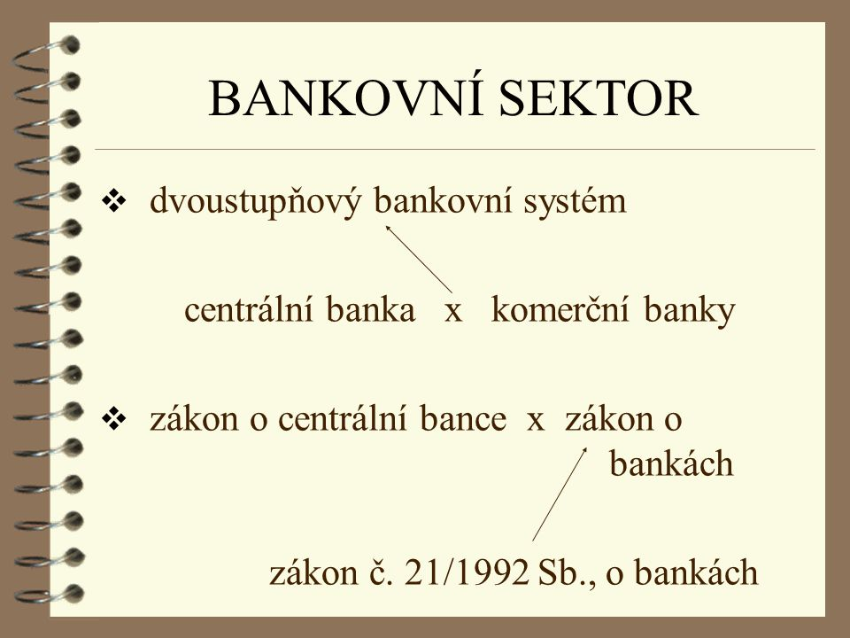 BANKOVNÍ SEKTOR dvoustupňový bankovní systém