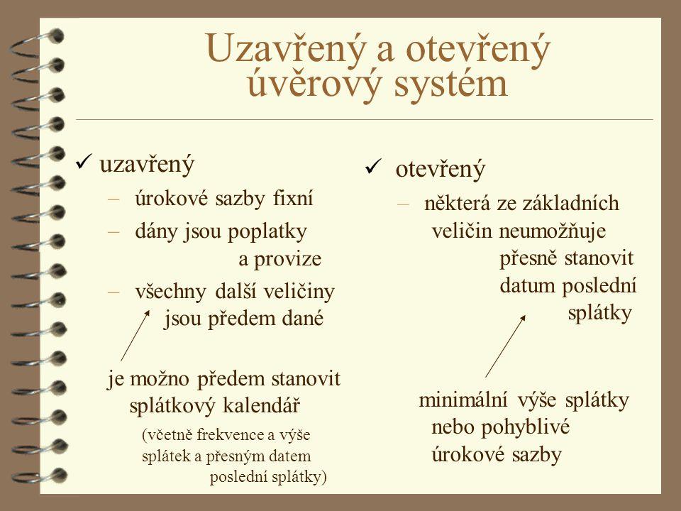 Uzavřený a otevřený úvěrový systém
