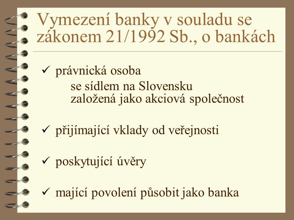 Vymezení banky v souladu se zákonem 21/1992 Sb., o bankách