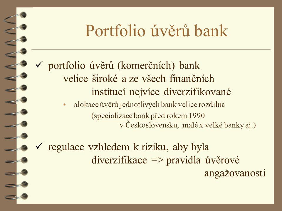 Portfolio úvěrů bank portfolio úvěrů (komerčních) bank velice široké a ze všech finančních institucí nejvíce diverzifikované.