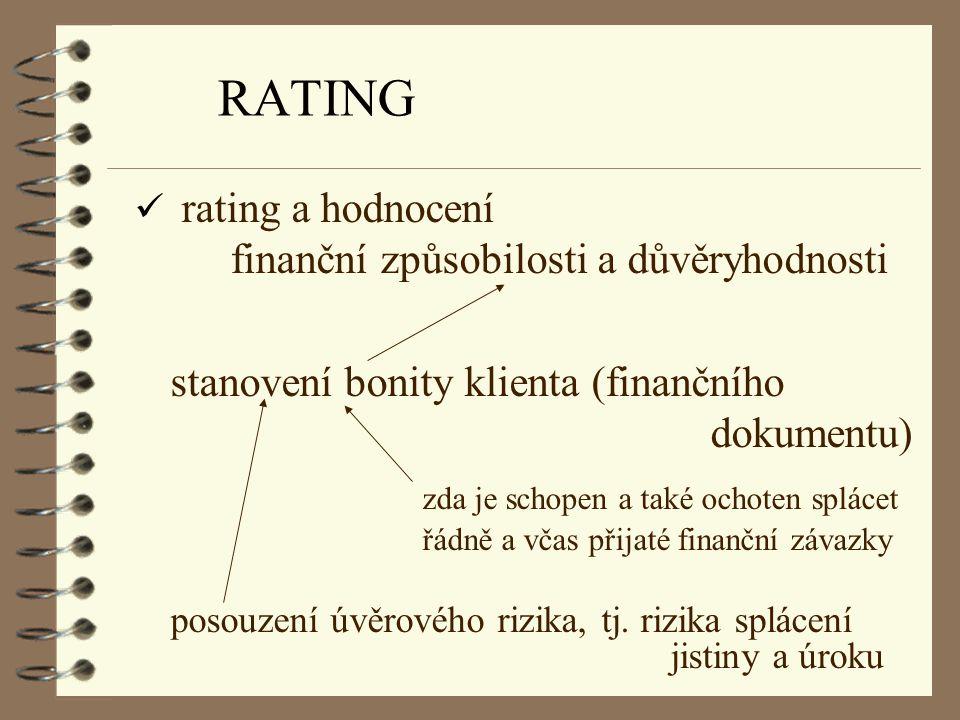 RATING rating a hodnocení finanční způsobilosti a důvěryhodnosti