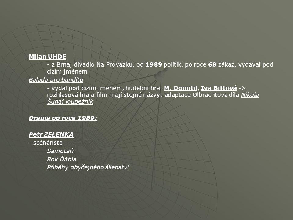 Milan UHDE - z Brna, divadlo Na Provázku, od 1989 politik, po roce 68 zákaz, vydával pod cizím jménem.