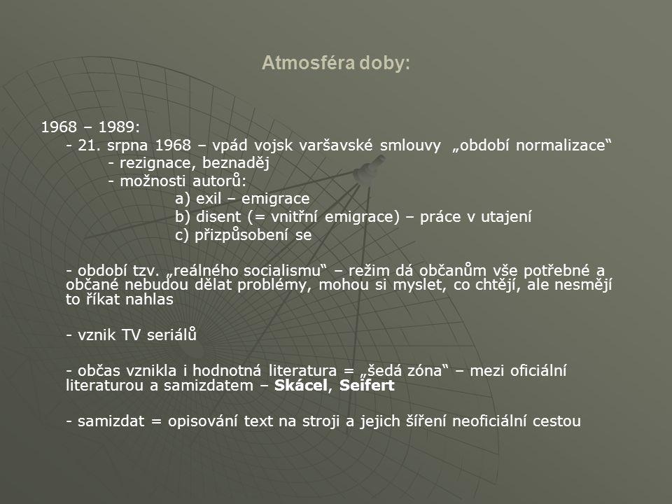 """Atmosféra doby: 1968 – 1989: - 21. srpna 1968 – vpád vojsk varšavské smlouvy """"období normalizace"""