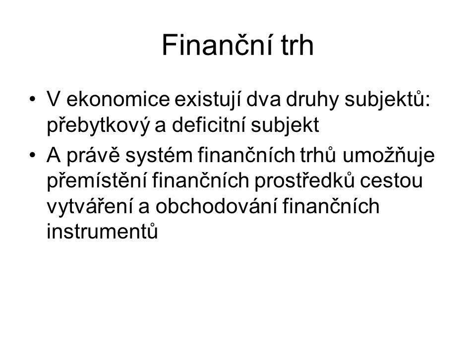 Finanční trh V ekonomice existují dva druhy subjektů: přebytkový a deficitní subjekt.