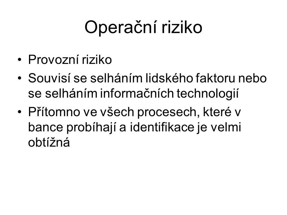 Operační riziko Provozní riziko