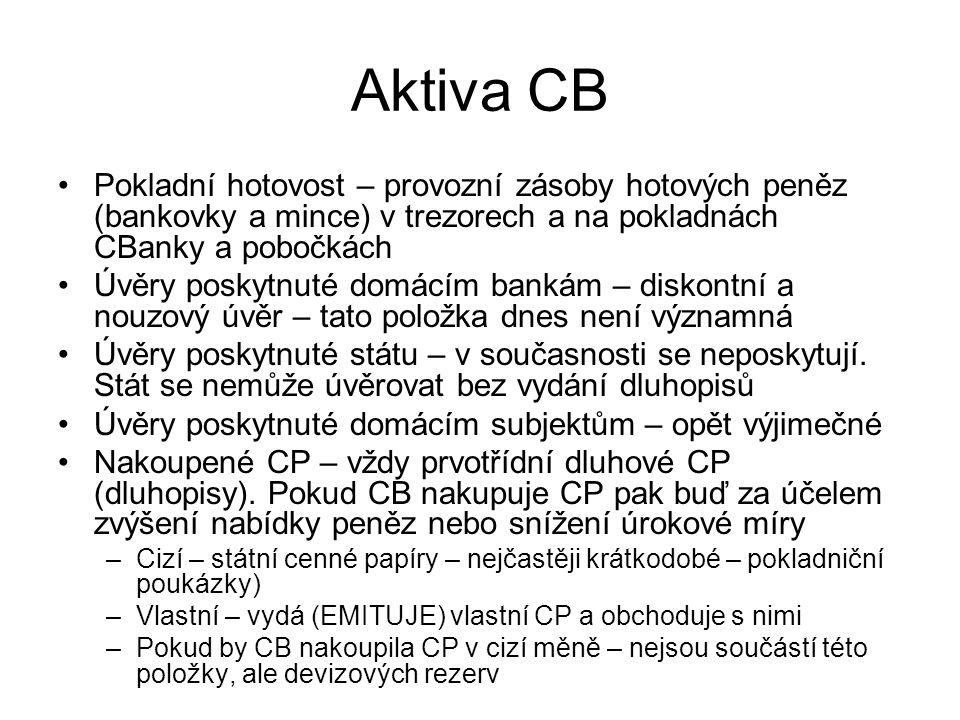 Aktiva CB Pokladní hotovost – provozní zásoby hotových peněz (bankovky a mince) v trezorech a na pokladnách CBanky a pobočkách.