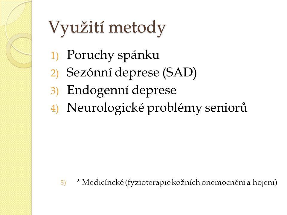 Využití metody Poruchy spánku Sezónní deprese (SAD) Endogenní deprese