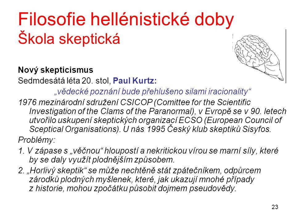 Filosofie hellénistické doby Škola skeptická