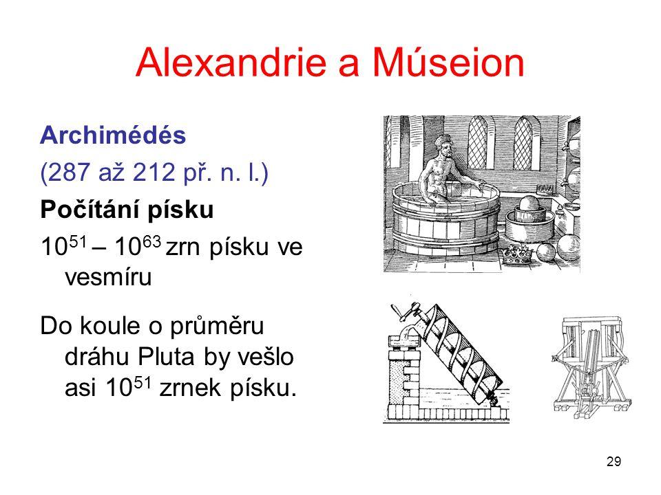 Alexandrie a Múseion Archimédés (287 až 212 př. n. l.) Počítání písku
