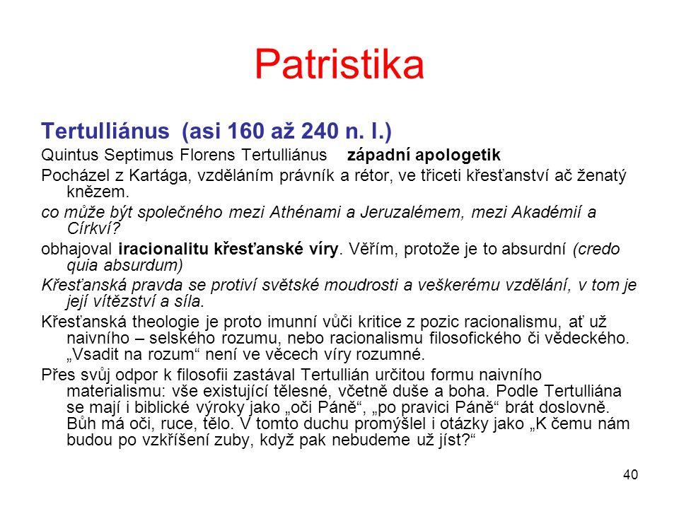 Patristika Tertulliánus (asi 160 až 240 n. l.)