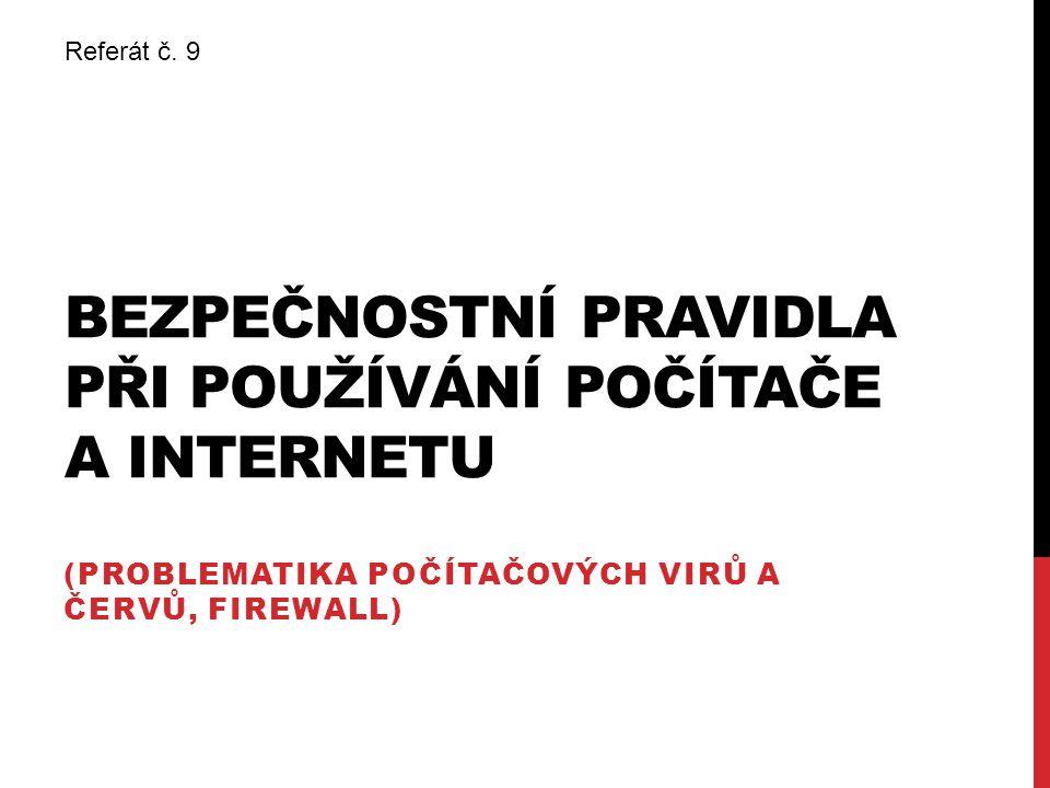 Bezpečnostní pravidla při používání počítače a internetu