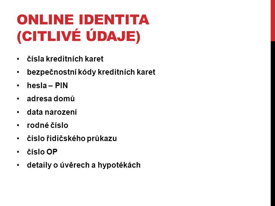 Online identita (Citlivé údaje)