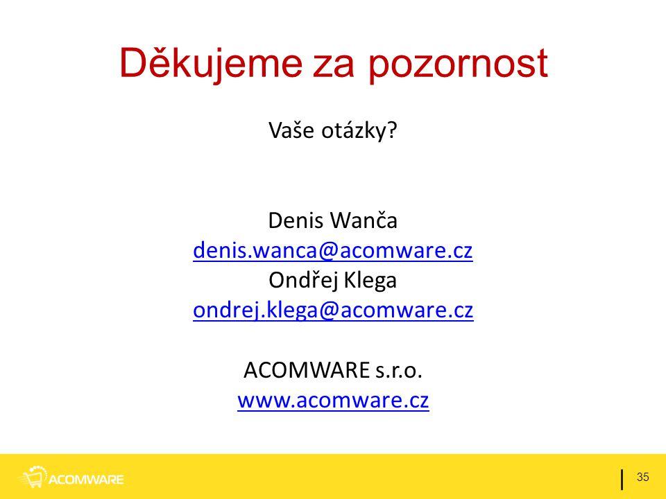 Děkujeme za pozornost Vaše otázky Denis Wanča denis.wanca@acomware.cz Ondřej Klega ondrej.klega@acomware.cz ACOMWARE s.r.o. www.acomware.cz