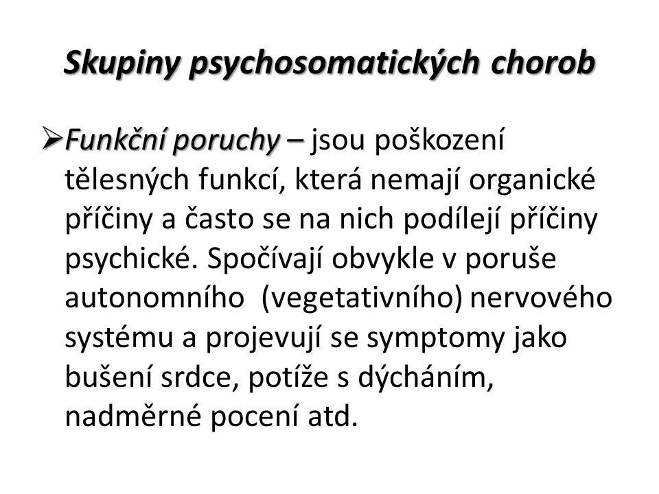 Skupiny psychosomatických chorob