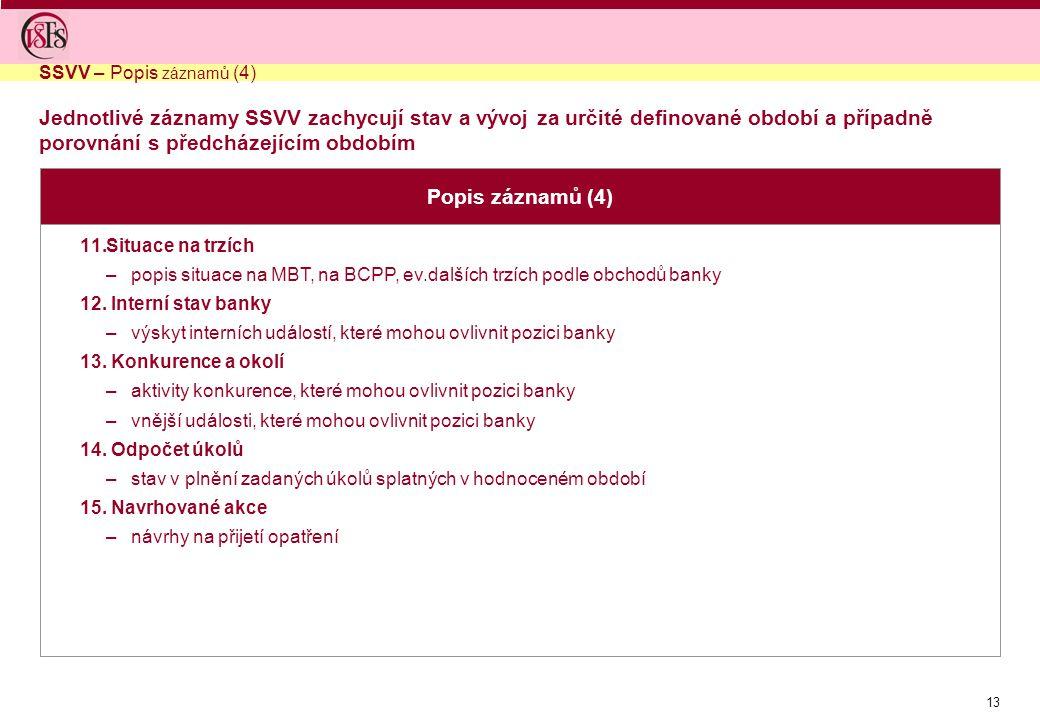 SSVV – Popis záznamů (4) Jednotlivé záznamy SSVV zachycují stav a vývoj za určité definované období a případně porovnání s předcházejícím obdobím.