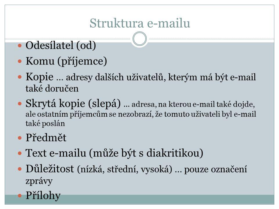 Struktura e-mailu Odesílatel (od) Komu (příjemce)