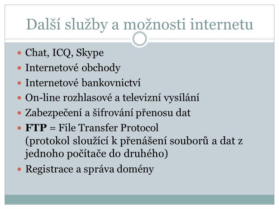 Další služby a možnosti internetu
