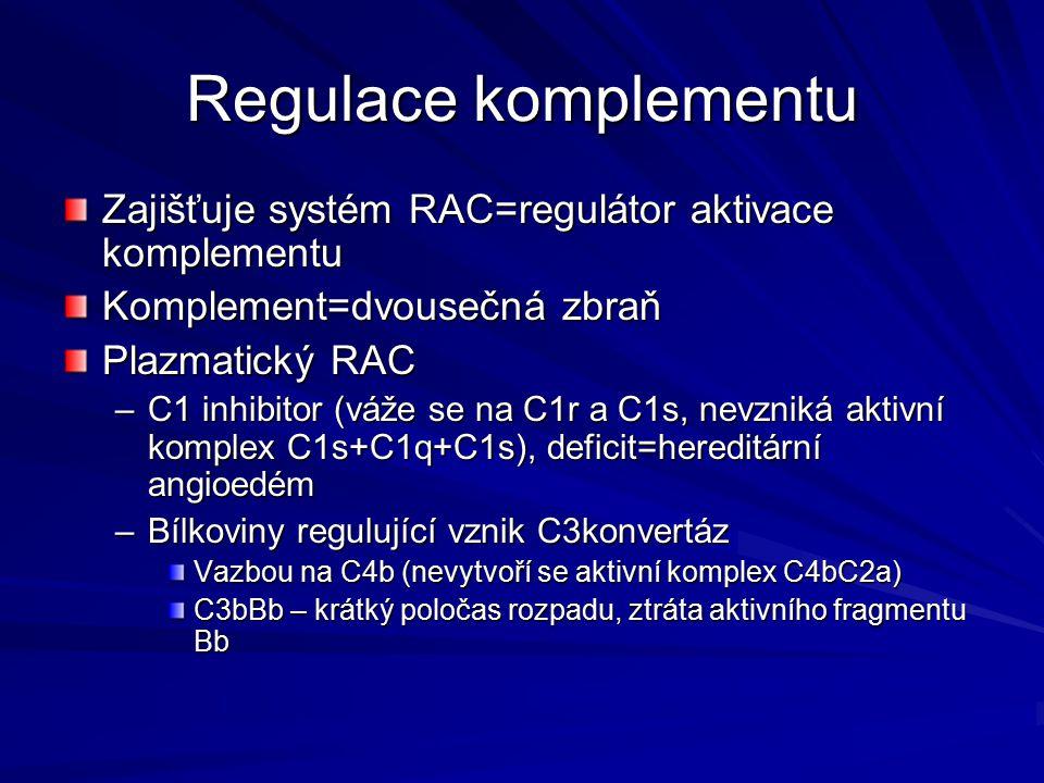 Regulace komplementu Zajišťuje systém RAC=regulátor aktivace komplementu. Komplement=dvousečná zbraň.